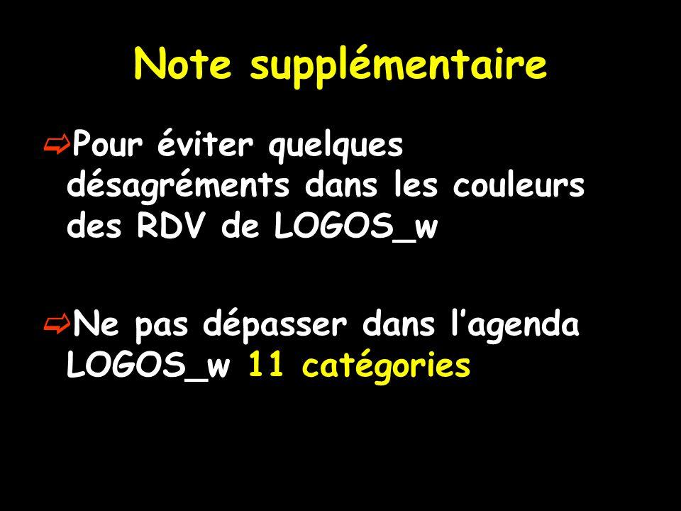 Note supplémentaire Pour éviter quelques désagréments dans les couleurs des RDV de LOGOS_w.