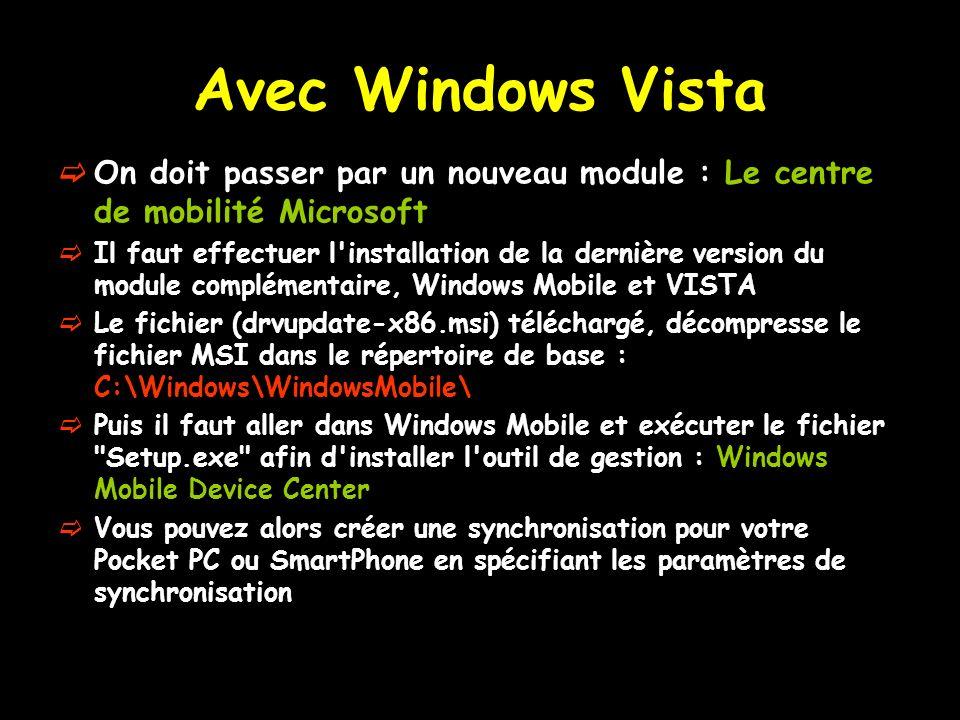Avec Windows Vista On doit passer par un nouveau module : Le centre de mobilité Microsoft.