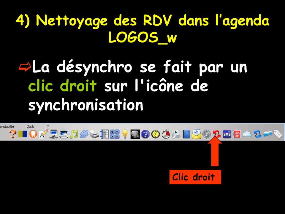 4) Nettoyage des RDV dans l'agenda LOGOS_w