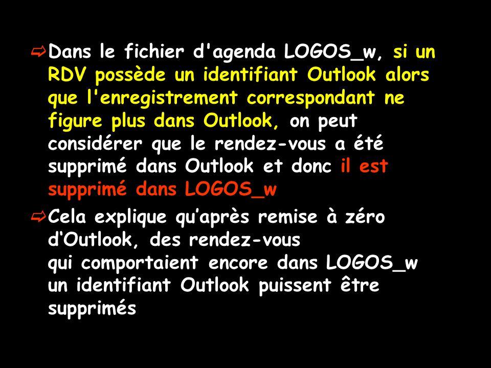 Dans le fichier d agenda LOGOS_w, si un RDV possède un identifiant Outlook alors que l enregistrement correspondant ne figure plus dans Outlook, on peut considérer que le rendez-vous a été supprimé dans Outlook et donc il est supprimé dans LOGOS_w