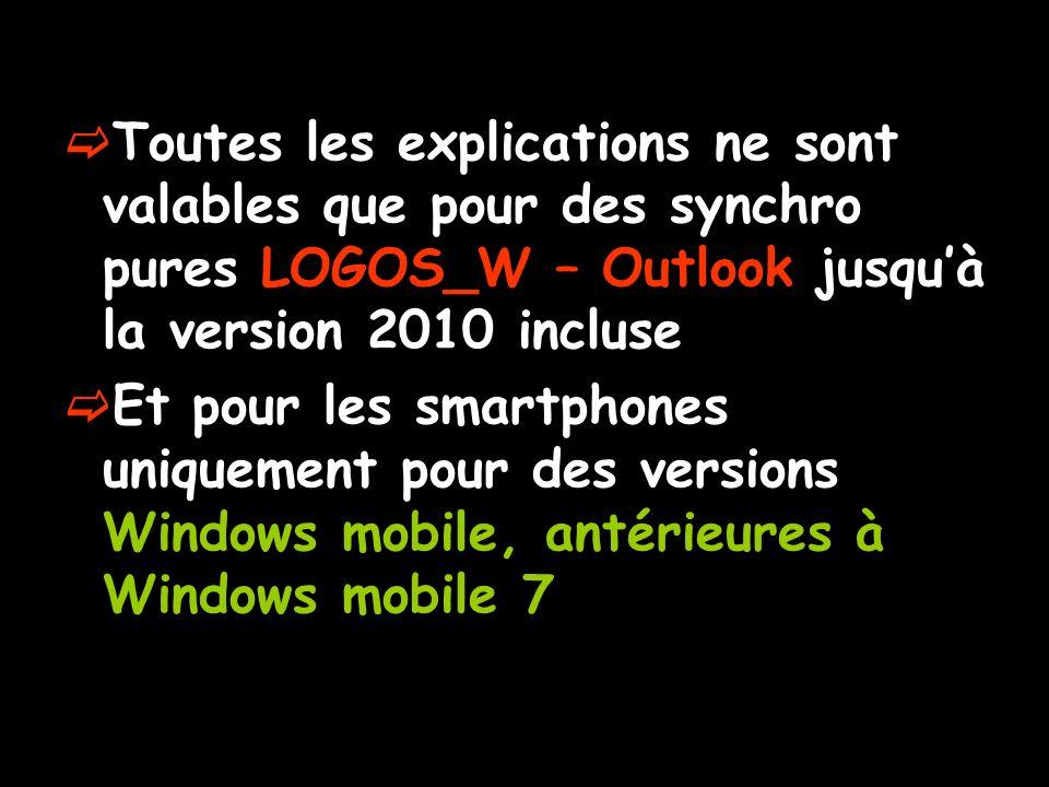 Toutes les explications ne sont valables que pour des synchro pures LOGOS_W – Outlook jusqu'à la version 2010 incluse