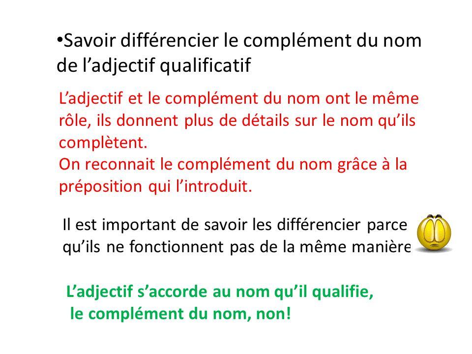 Savoir différencier le complément du nom de l'adjectif qualificatif
