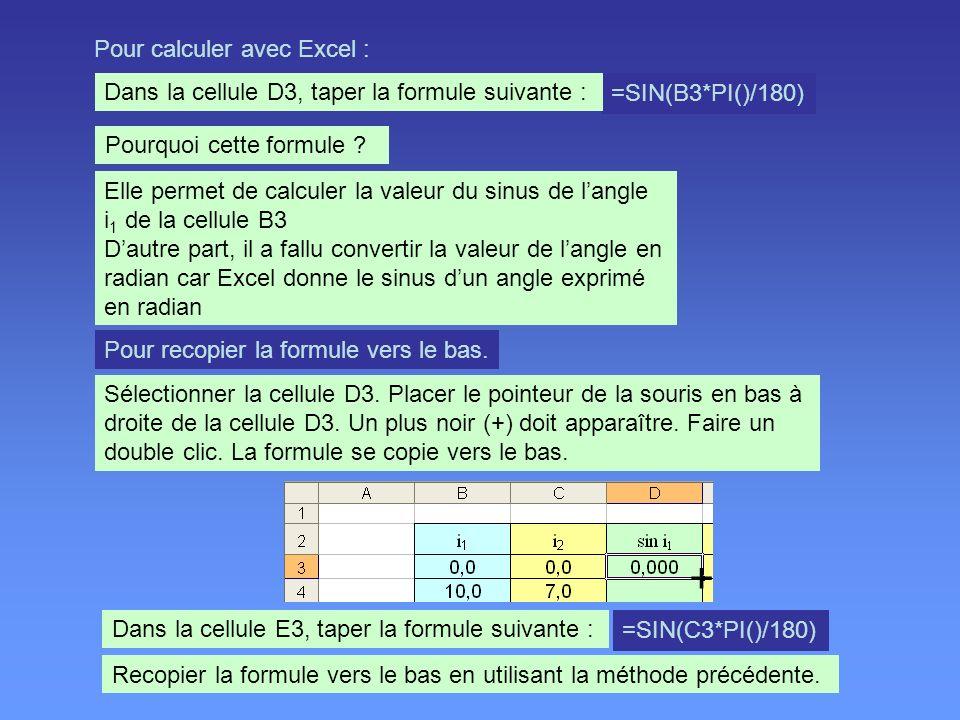 + Pour calculer avec Excel :