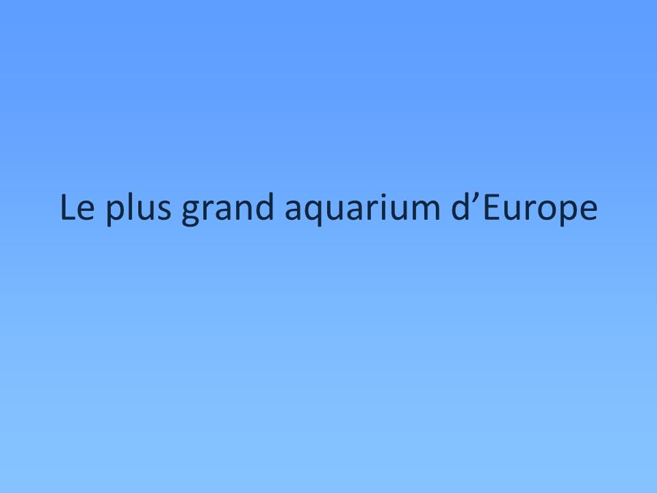 Le plus grand aquarium d'Europe