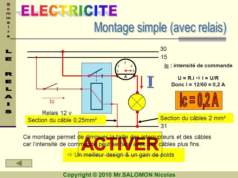 ACTIVER Montage simple (avec relais) I Ic = 0,2 A 30 15 Ic Relais 12 v