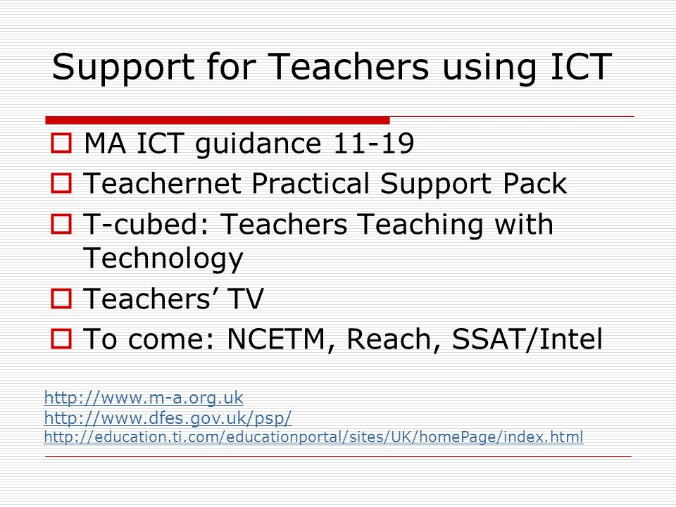 Support for Teachers using ICT