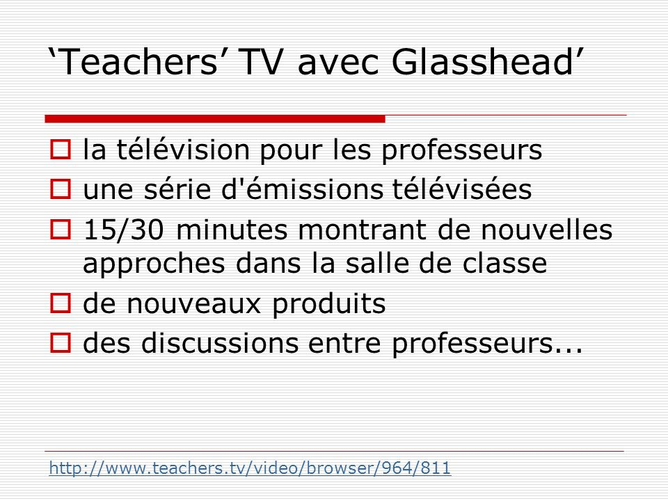 'Teachers' TV avec Glasshead'