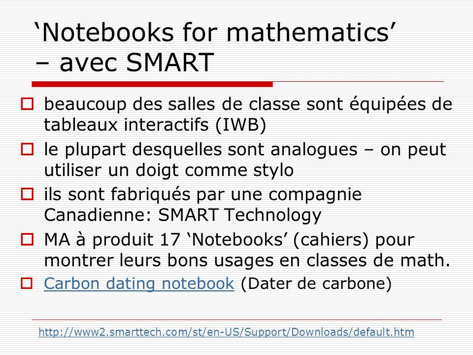 'Notebooks for mathematics' – avec SMART