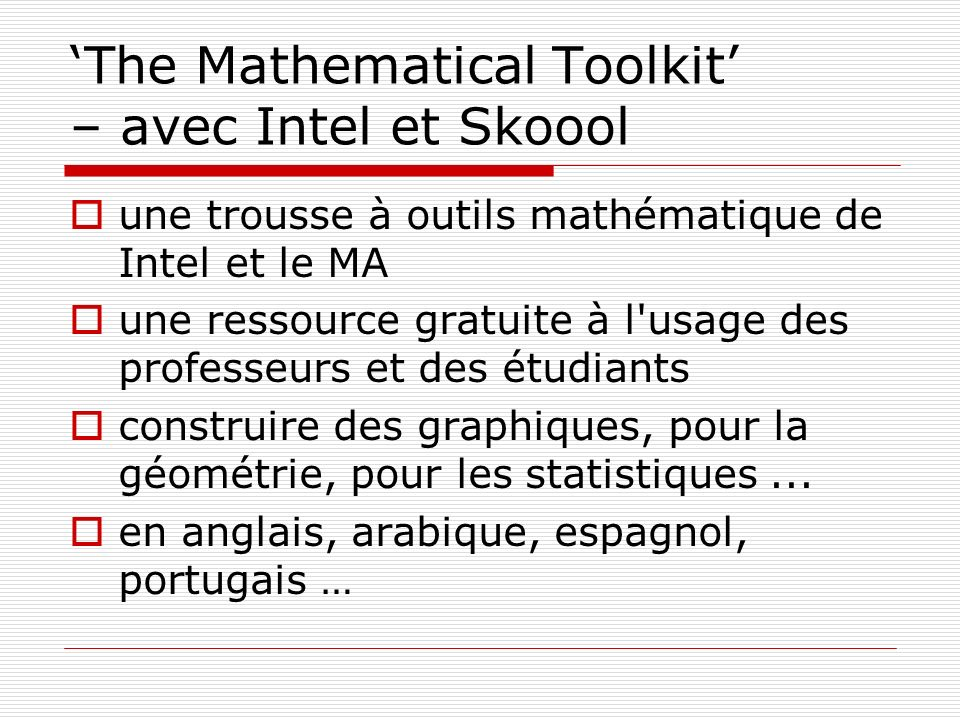 'The Mathematical Toolkit' – avec Intel et Skoool