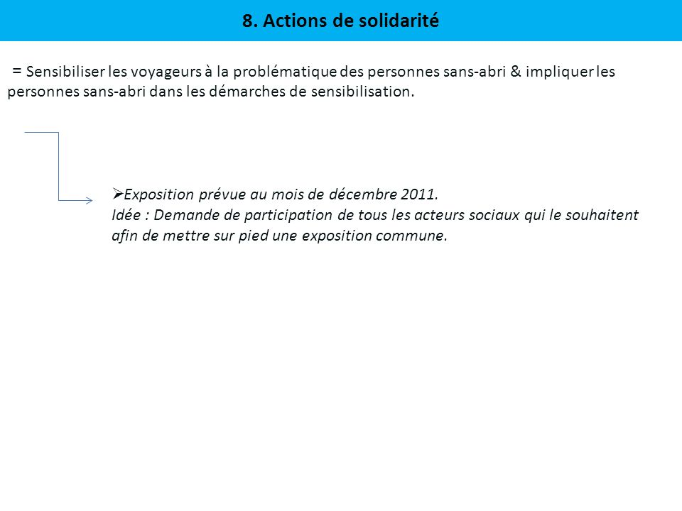 8. Actions de solidarité