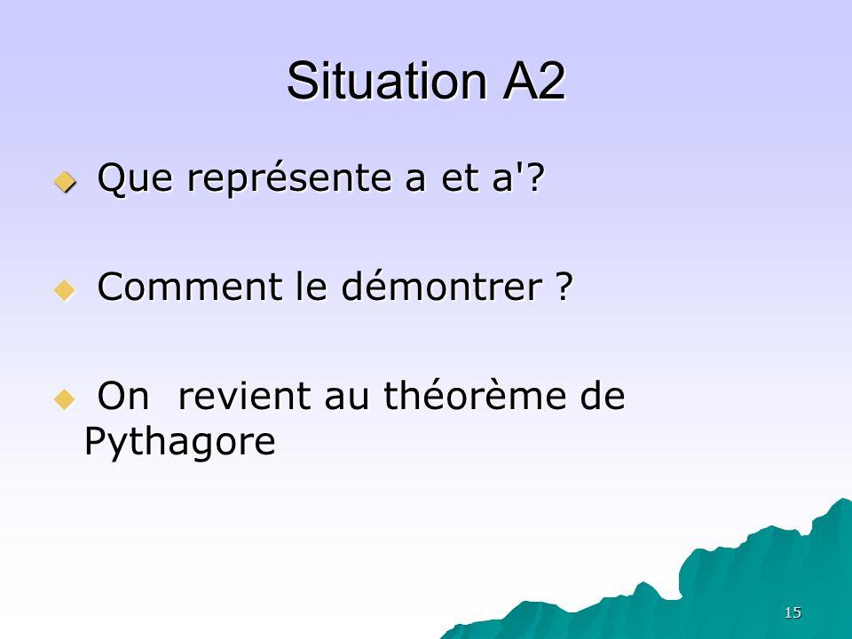 Situation A2 Que représente a et a Comment le démontrer