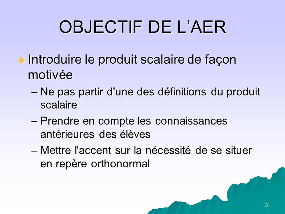 OBJECTIF DE L'AER Introduire le produit scalaire de façon motivée