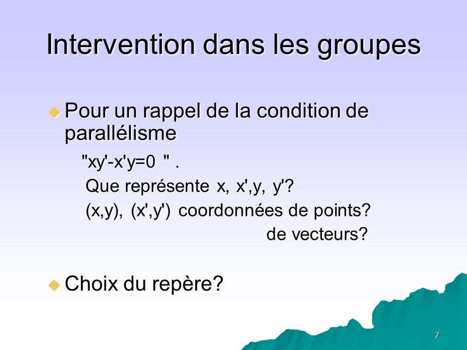 Intervention dans les groupes