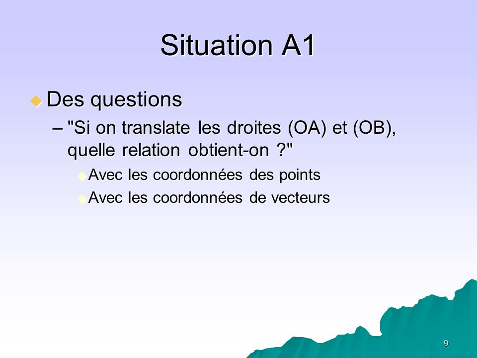 Situation A1 Des questions