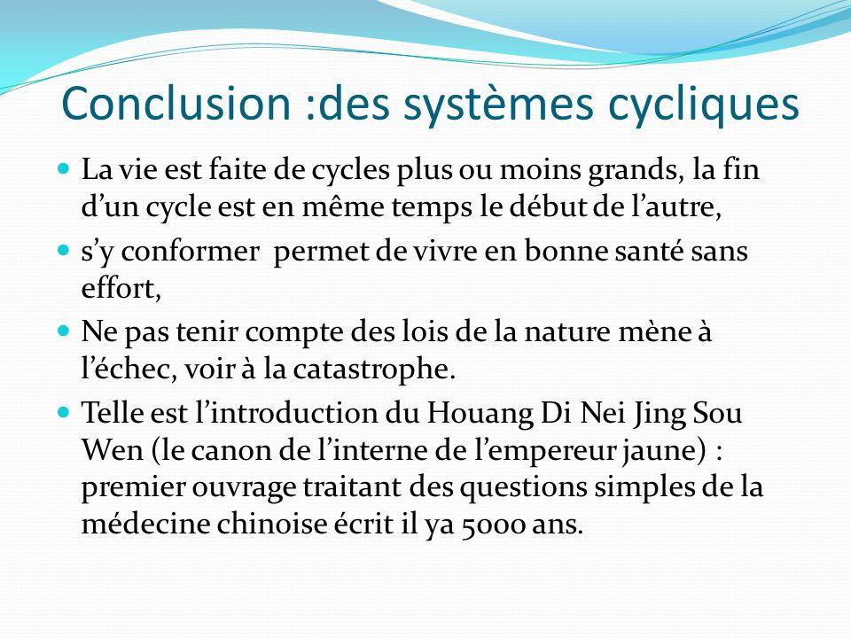 Conclusion :des systèmes cycliques