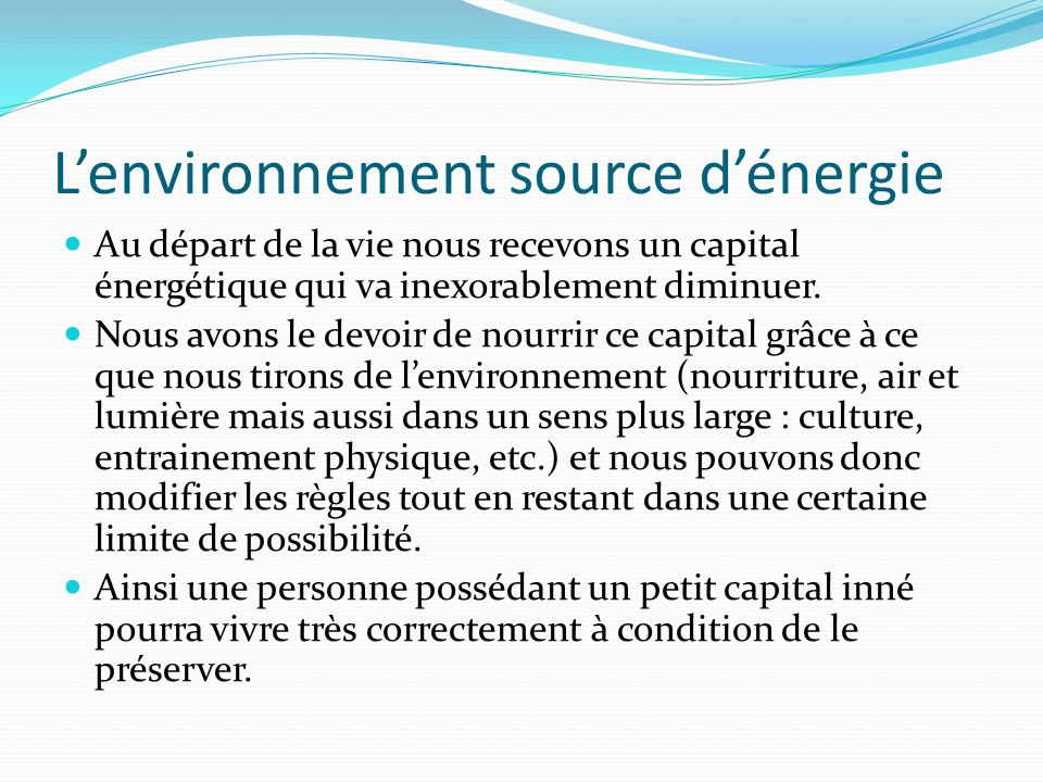 L'environnement source d'énergie