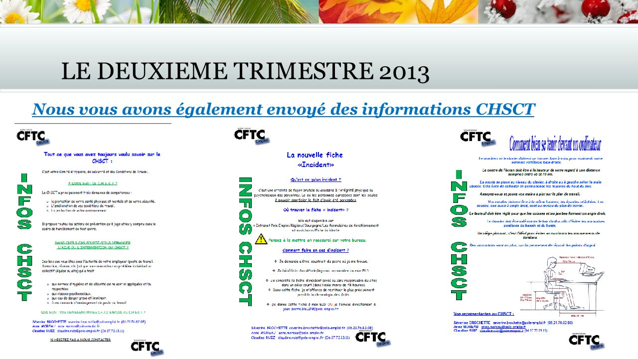 LE DEUXIEME TRIMESTRE 2013 Nous vous avons également envoyé des informations CHSCT