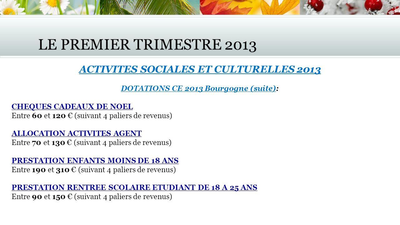 LE PREMIER TRIMESTRE 2013 ACTIVITES SOCIALES ET CULTURELLES 2013
