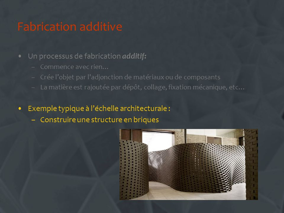 Fabrication additive Un processus de fabrication additif: