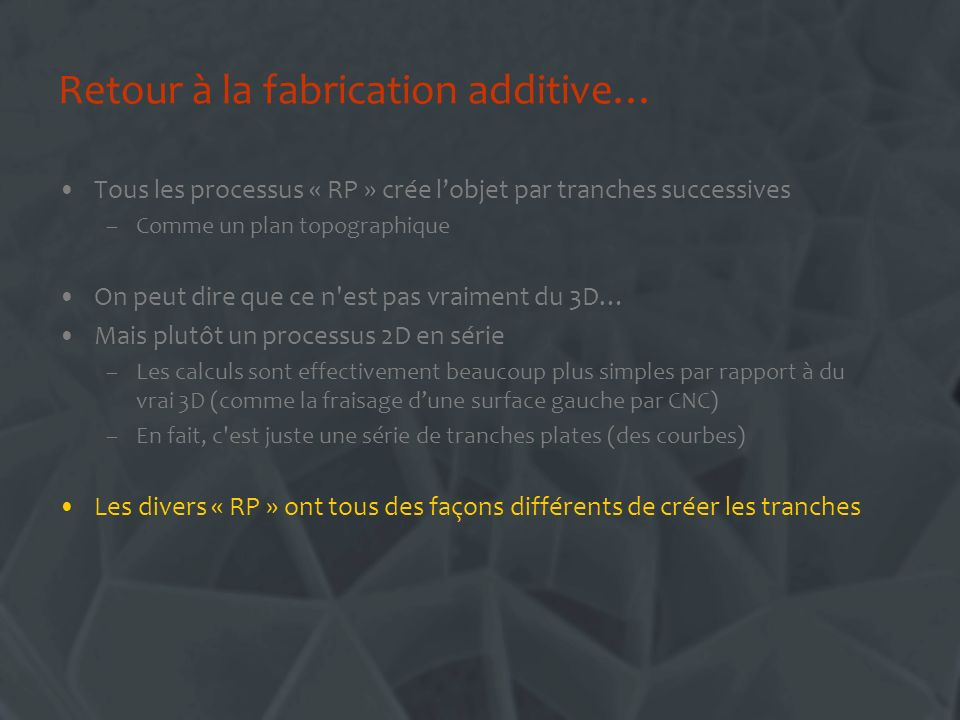 Retour à la fabrication additive…