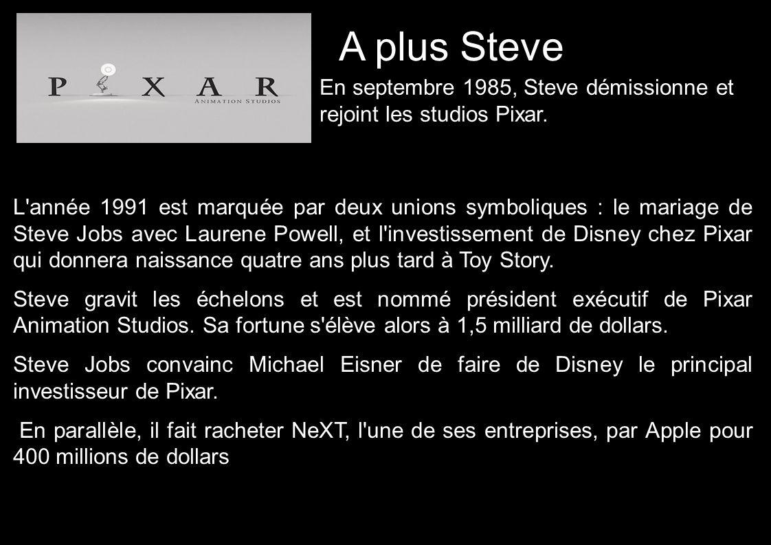 A plus Steve En septembre 1985, Steve démissionne et rejoint les studios Pixar.