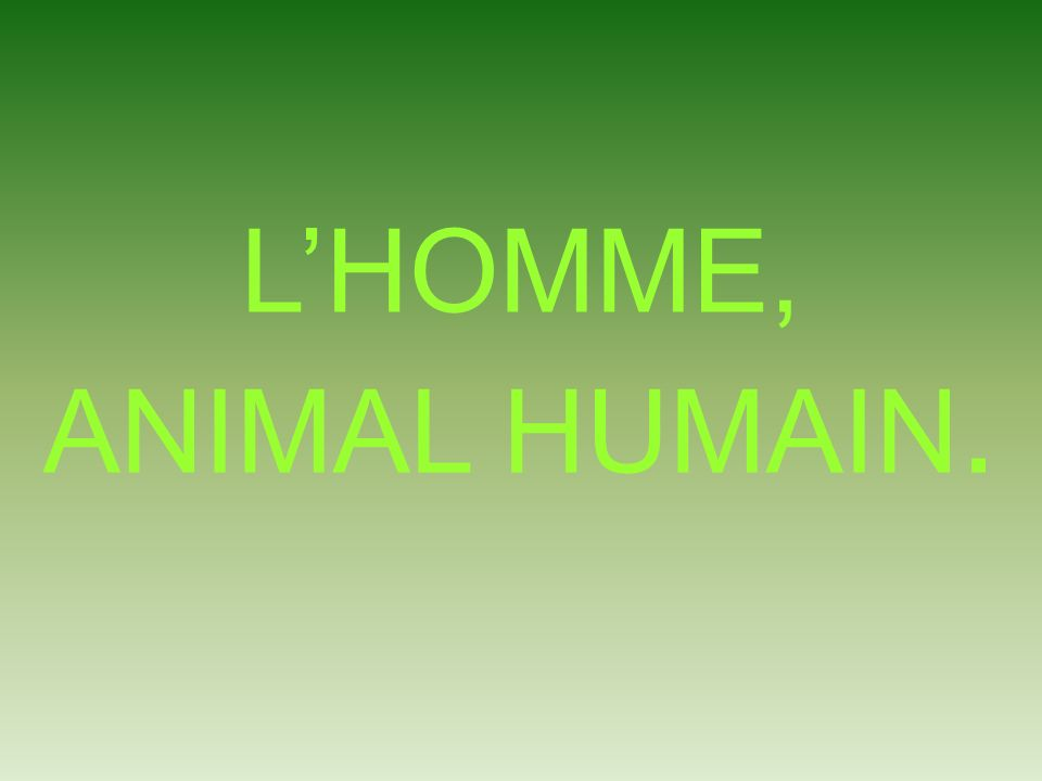 L'HOMME, ANIMAL HUMAIN.