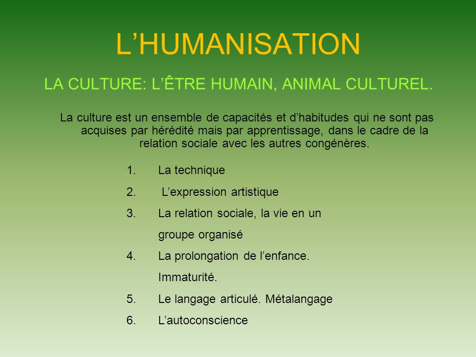 LA CULTURE: L'ÊTRE HUMAIN, ANIMAL CULTUREL.