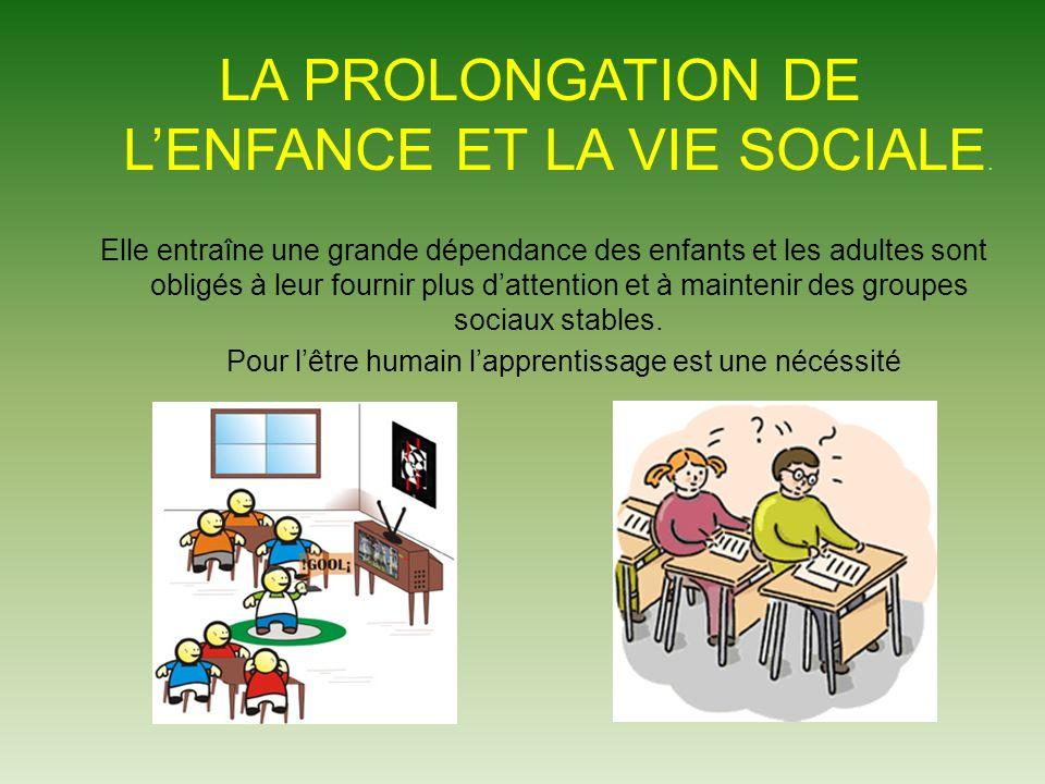 LA PROLONGATION DE L'ENFANCE ET LA VIE SOCIALE.