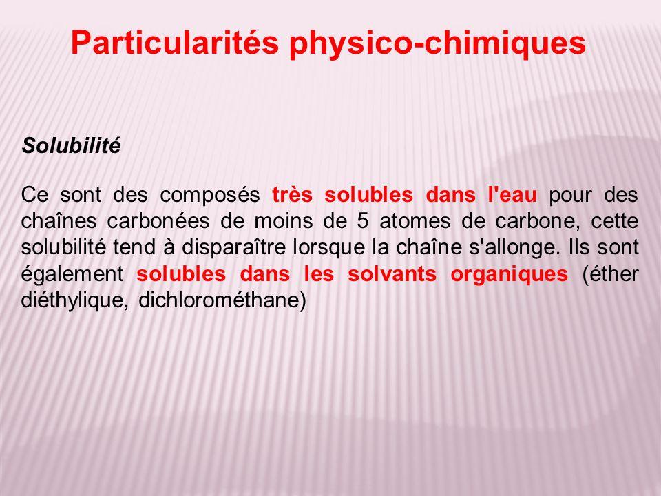 Particularités physico-chimiques
