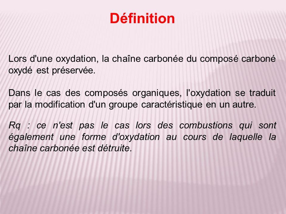 Définition Lors d une oxydation, la chaîne carbonée du composé carboné oxydé est préservée.