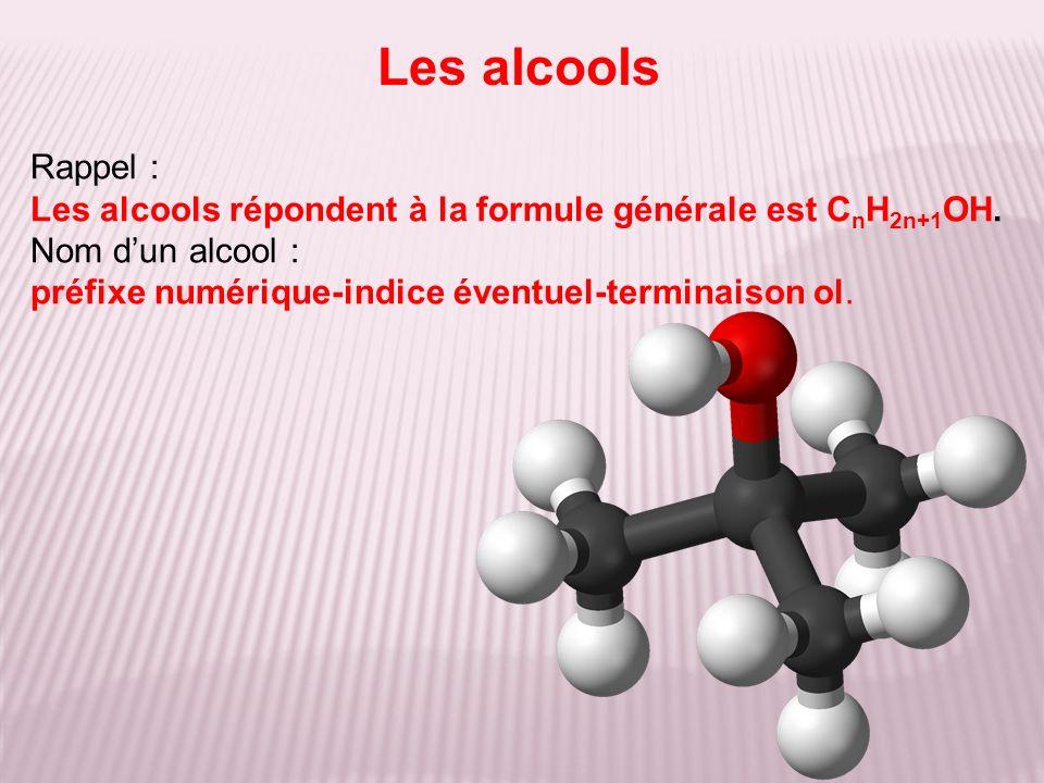 Les alcools Rappel : Les alcools répondent à la formule générale est CnH2n+1OH. Nom d'un alcool :
