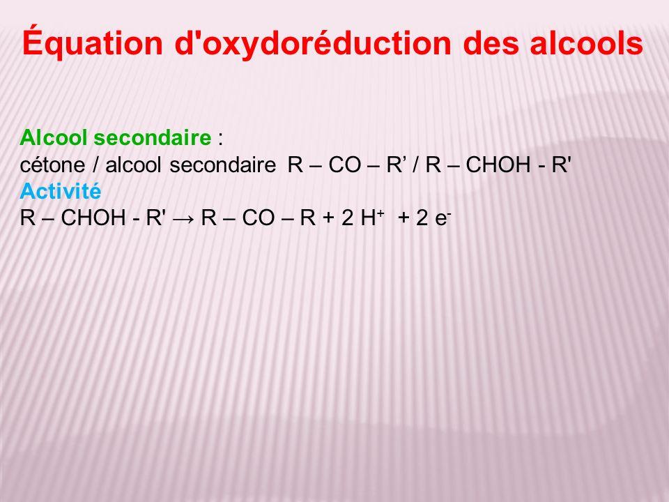 Équation d oxydoréduction des alcools