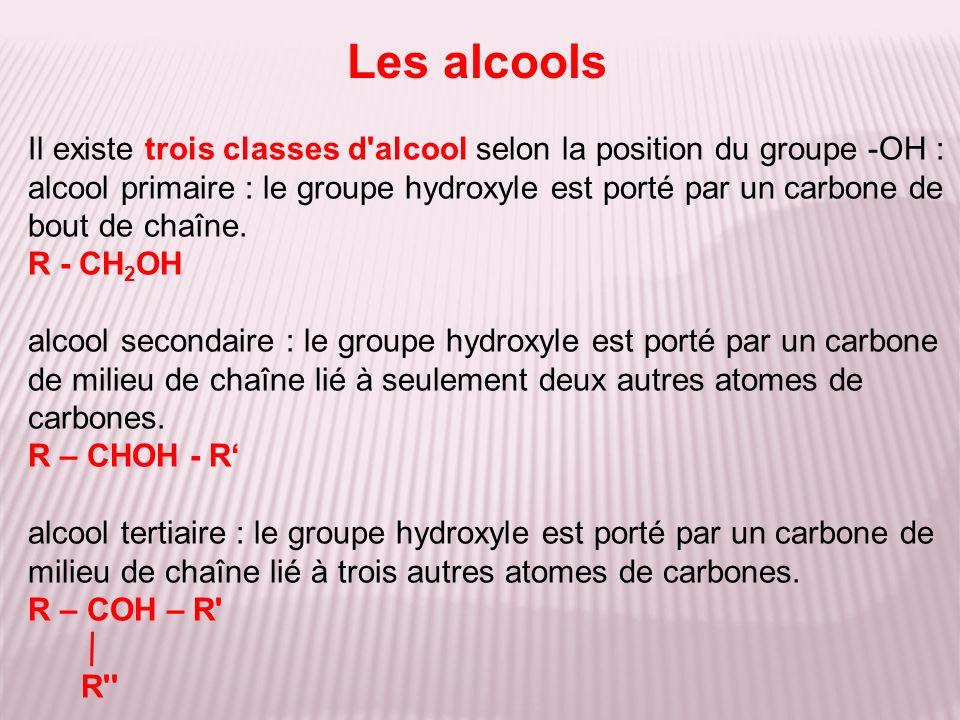 Les alcools Il existe trois classes d alcool selon la position du groupe -OH :