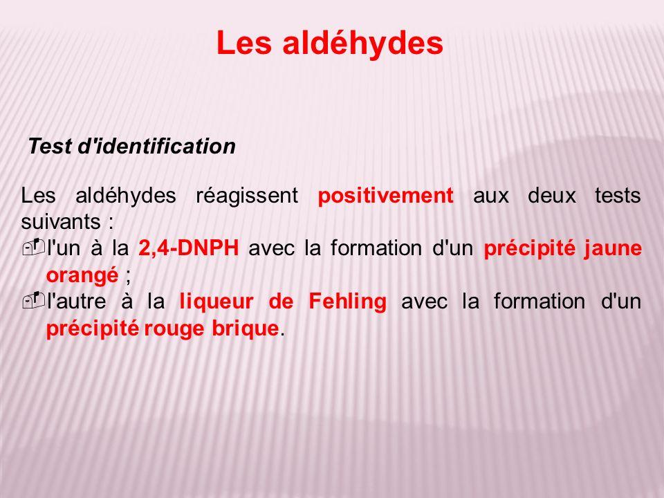 Les aldéhydes Test d identification