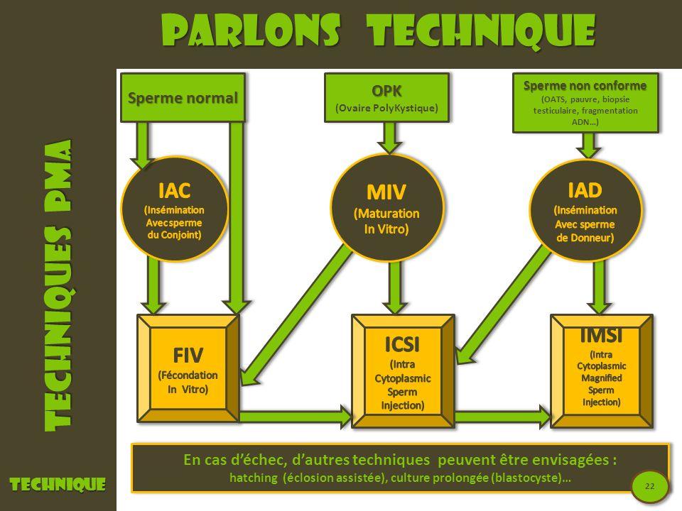 Parlons technique TECHNIQUES PMA IAC MIV IAD IMSI ICSI FIV OPK