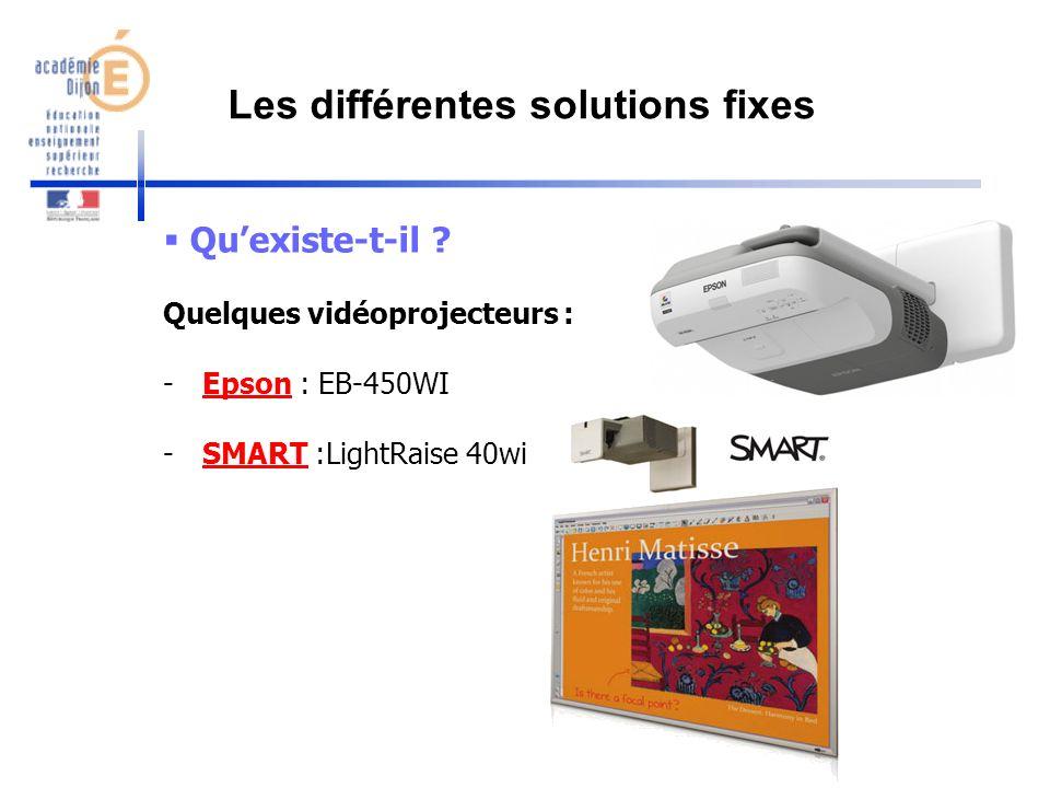 Les différentes solutions fixes
