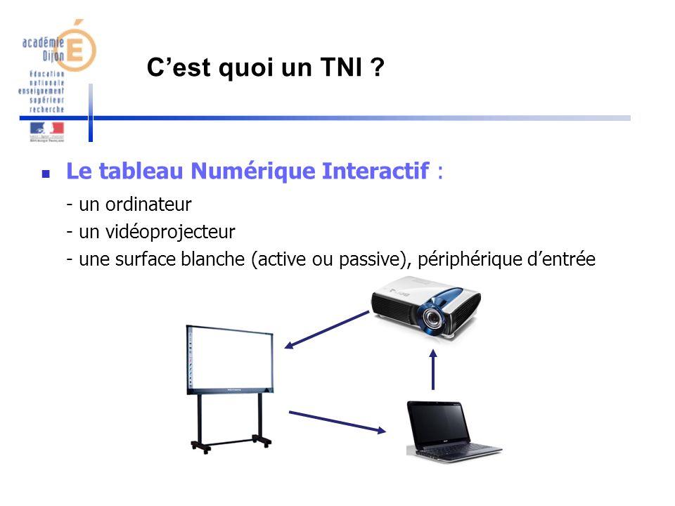 C'est quoi un TNI Le tableau Numérique Interactif : - un ordinateur