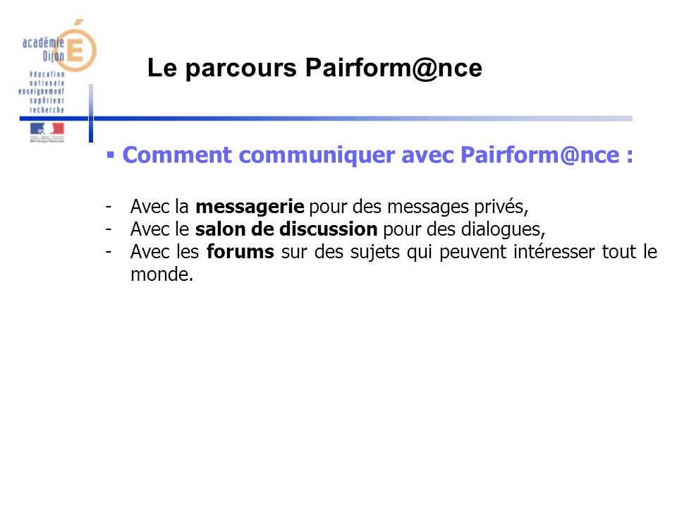 Le parcours Pairform@nce