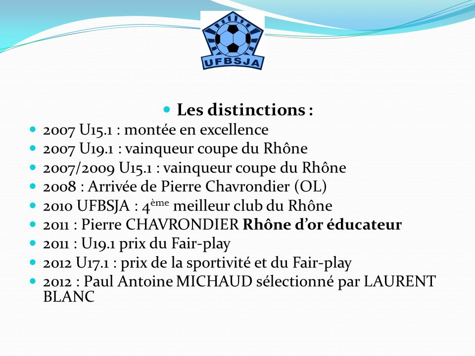 Les distinctions : 2007 U15.1 : montée en excellence