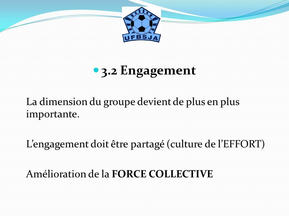 3.2 Engagement La dimension du groupe devient de plus en plus importante. L'engagement doit être partagé (culture de l'EFFORT)