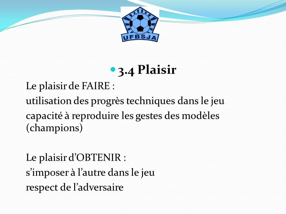 3.4 Plaisir Le plaisir de FAIRE :