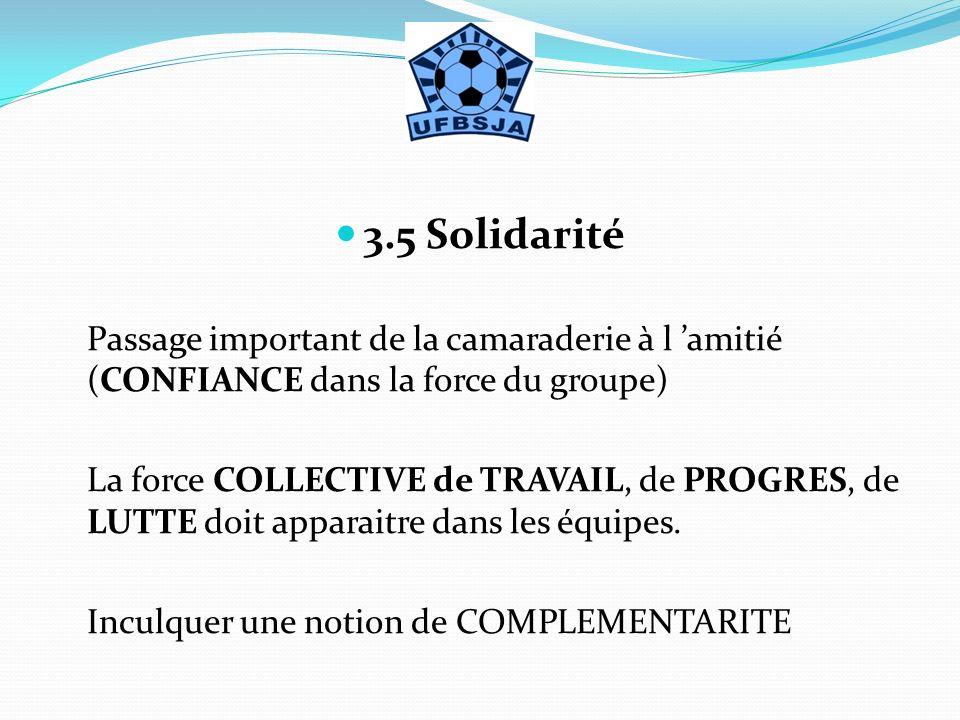 3.5 Solidarité Passage important de la camaraderie à l 'amitié (CONFIANCE dans la force du groupe)