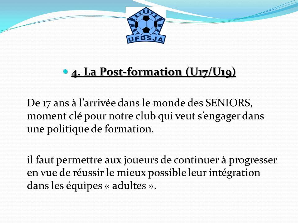 4. La Post-formation (U17/U19)