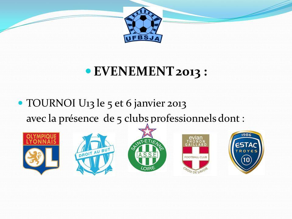 EVENEMENT 2013 : TOURNOI U13 le 5 et 6 janvier 2013