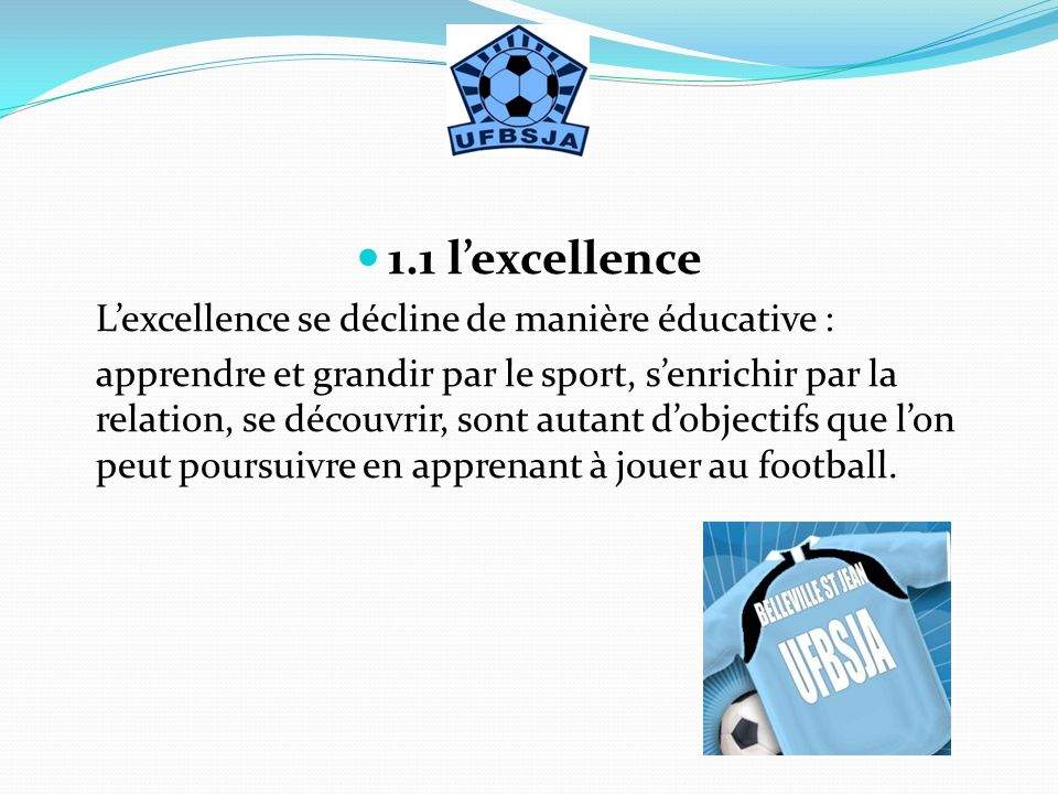 1.1 l'excellence L'excellence se décline de manière éducative :