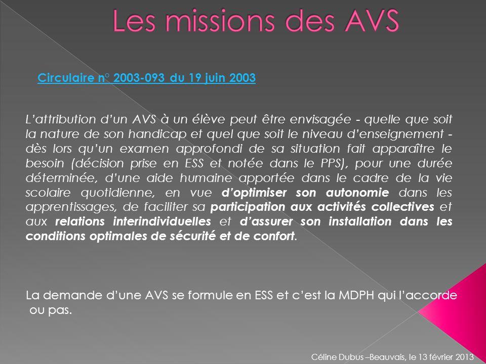 Les missions des AVS Circulaire n° 2003-093 du 19 juin 2003