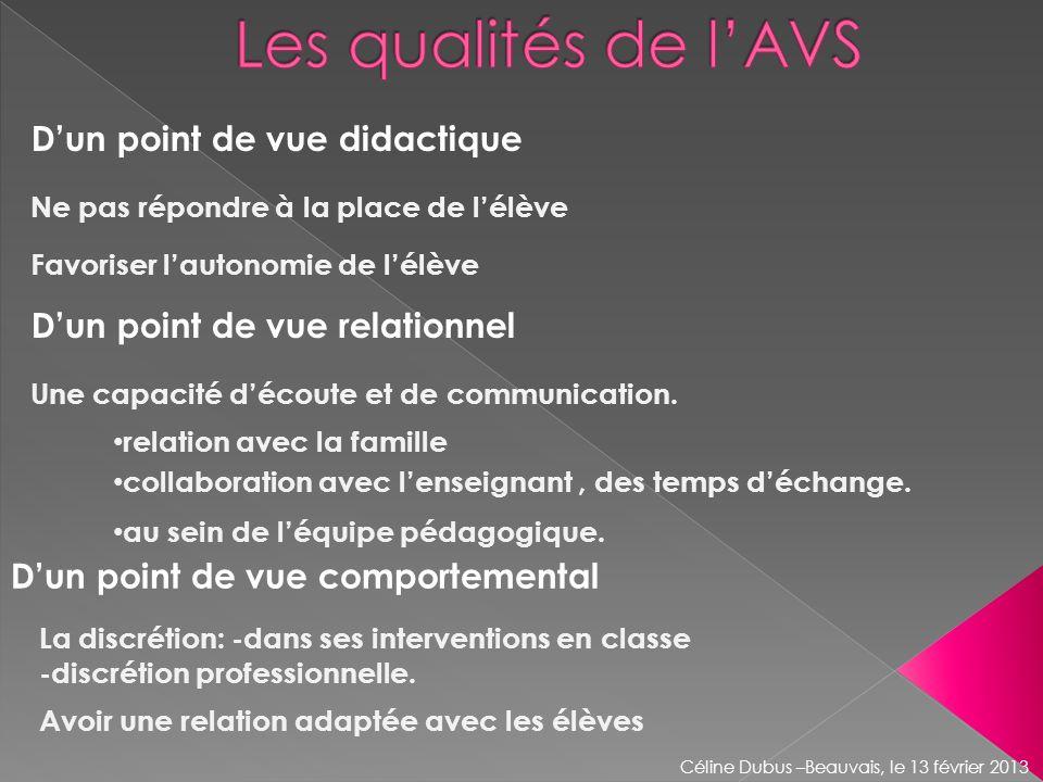 Les qualités de l'AVS D'un point de vue didactique