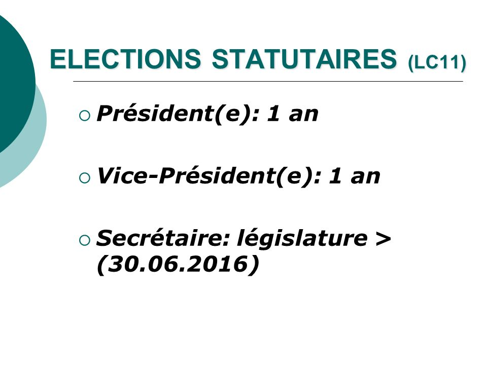ELECTIONS STATUTAIRES (LC11)