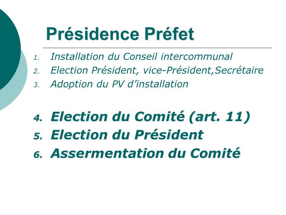 Présidence Préfet Election du Comité (art. 11) Election du Président