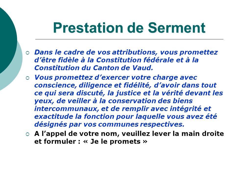 Prestation de Serment